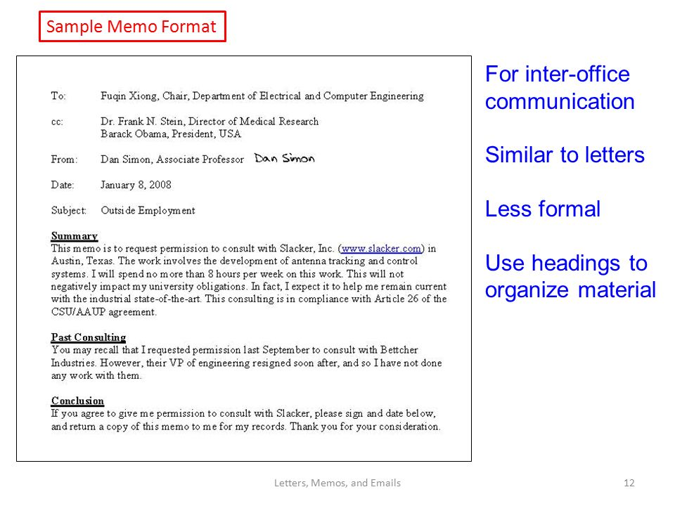 Lecture 11 Letters Memos And S Dan Simon Ppt Download
