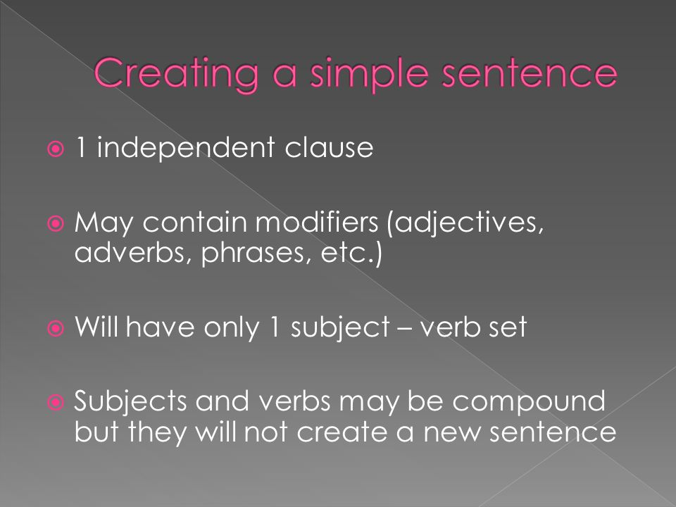 Creating a simple sentence
