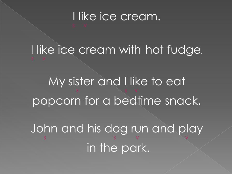 I like ice cream with hot fudge. My sister and I like to eat