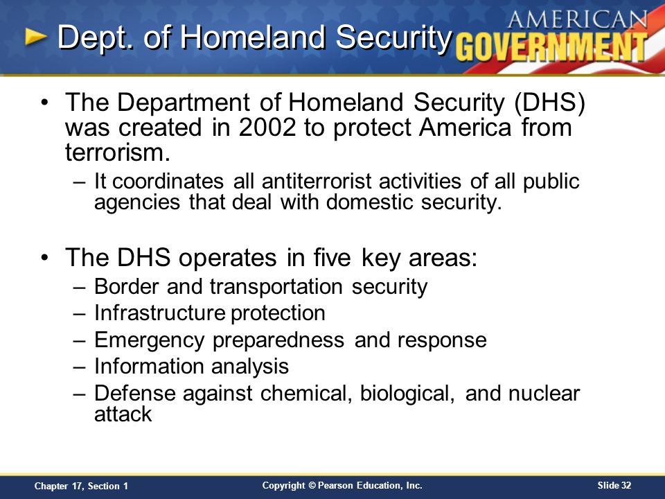 Chapter 17 foreign policy and national defense section 1 - Office of homeland security and preparedness ...