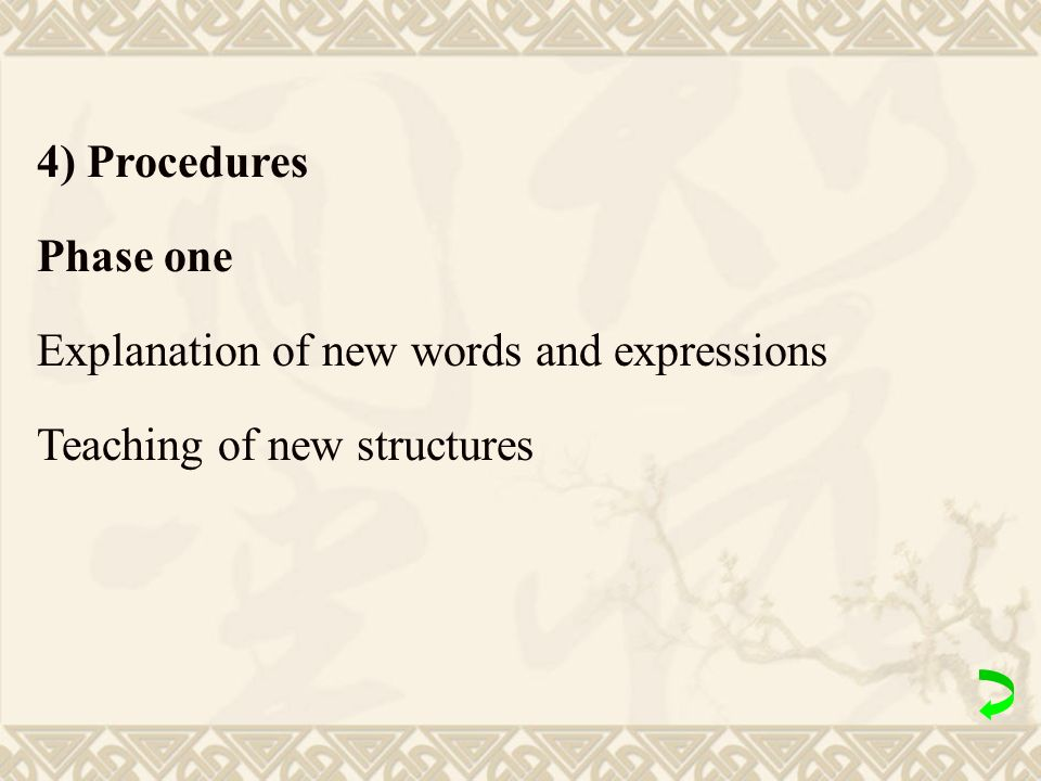 4) Procedures Phase one Explanation of new words and expressions Teaching of new structures