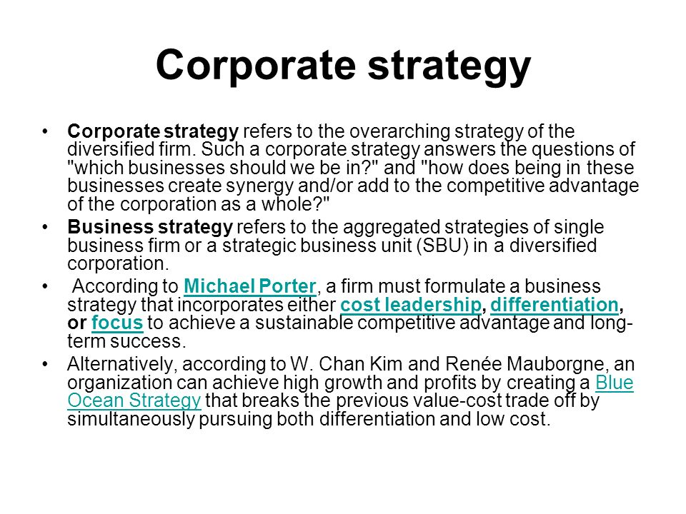 A strategic business unit (sbu) refers to