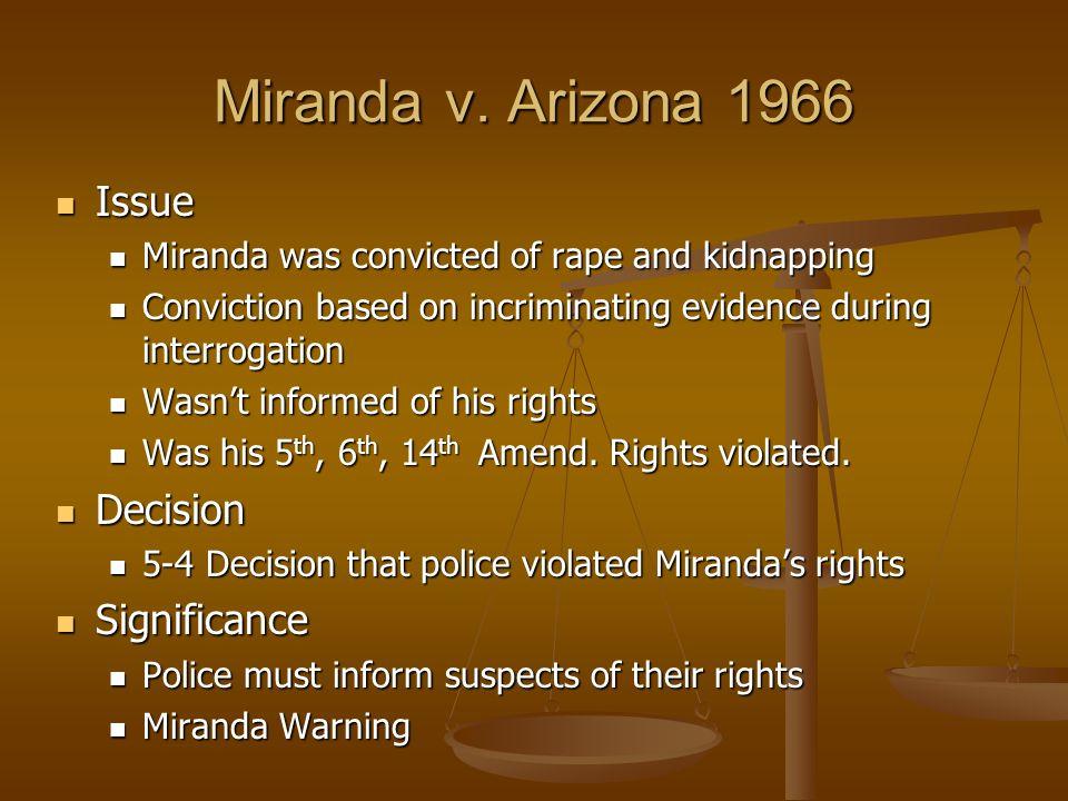 the significance of miranda warning essay 20, 1987, at 9a editorial, heeding miranda's warning, wall st j, feb 2, 1987, at 22 joseph  the impact of miranda revisited.