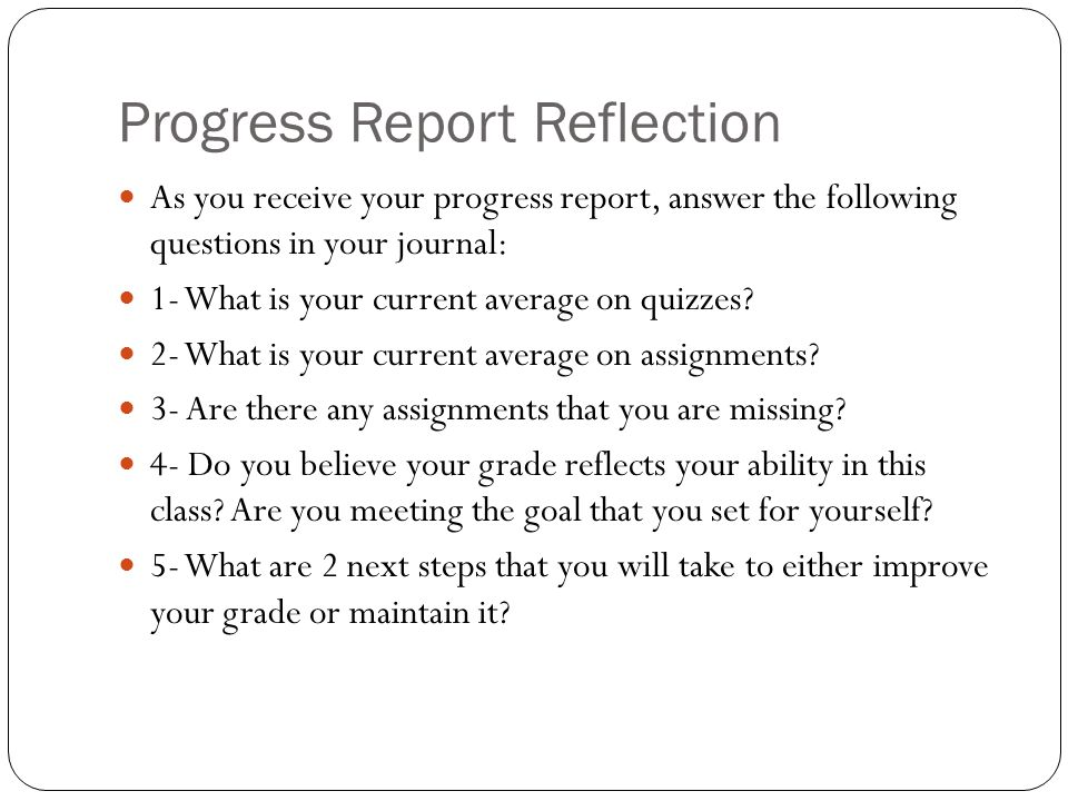 Progress Report Reflection