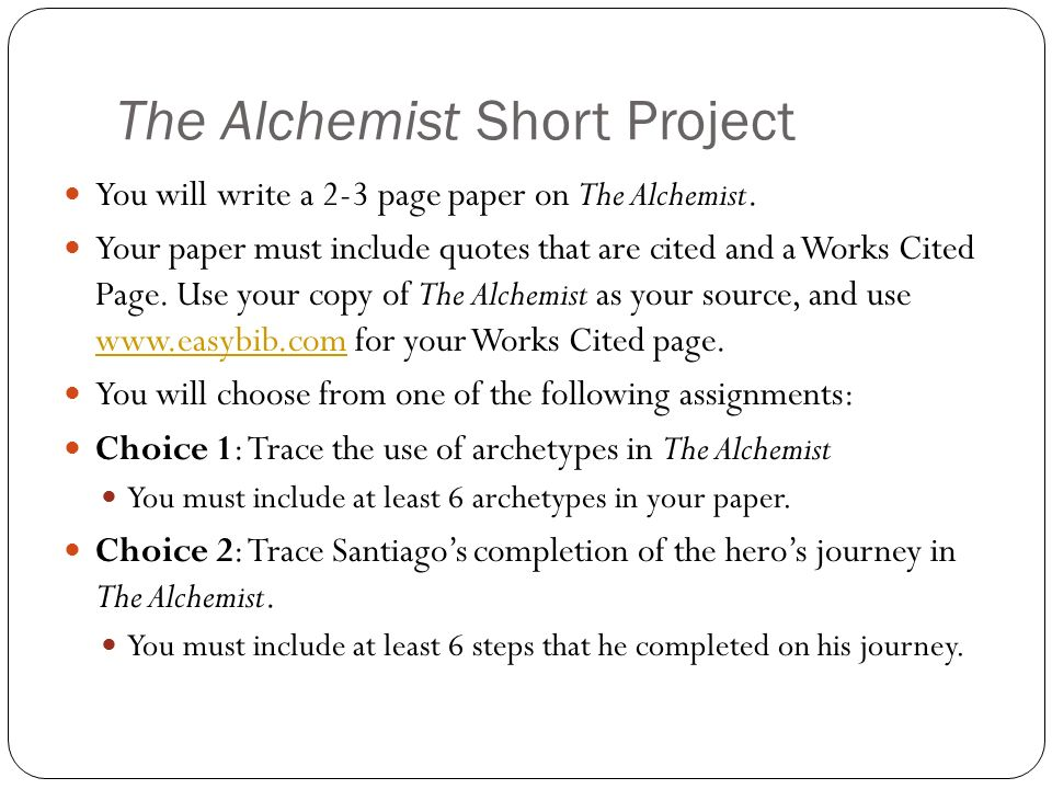 The Alchemist Short Project