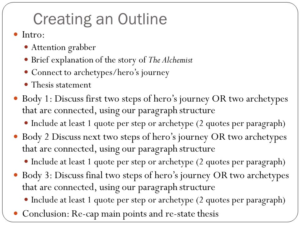 Creating an Outline Intro: