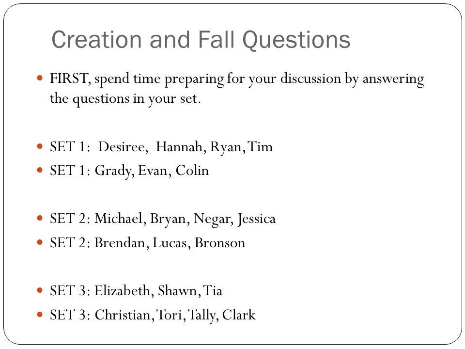 Creation and Fall Questions