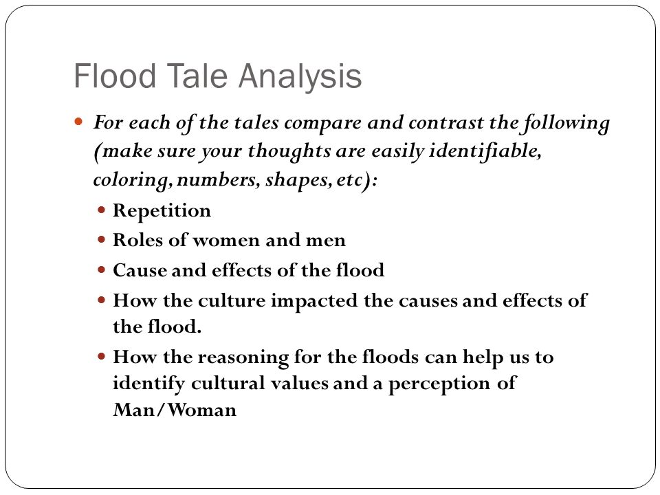 Flood Tale Analysis