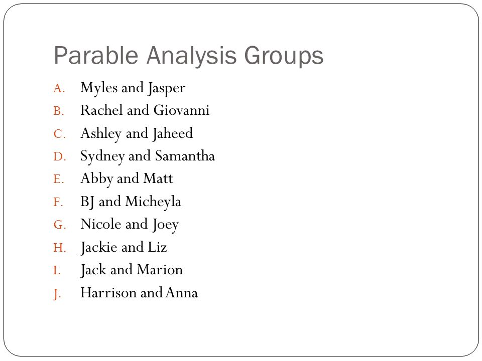 Parable Analysis Groups