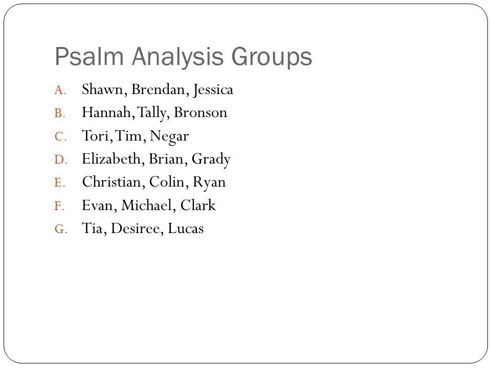 Psalm Analysis Groups Shawn, Brendan, Jessica Hannah, Tally, Bronson