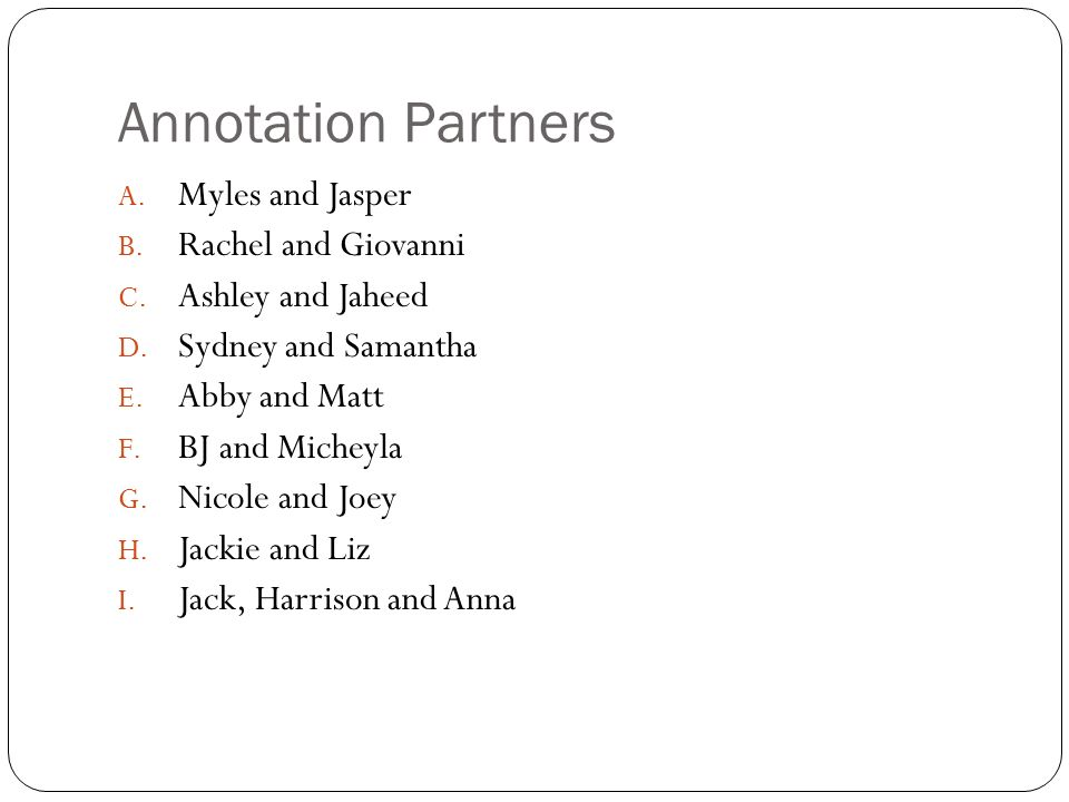 Annotation Partners Myles and Jasper Rachel and Giovanni