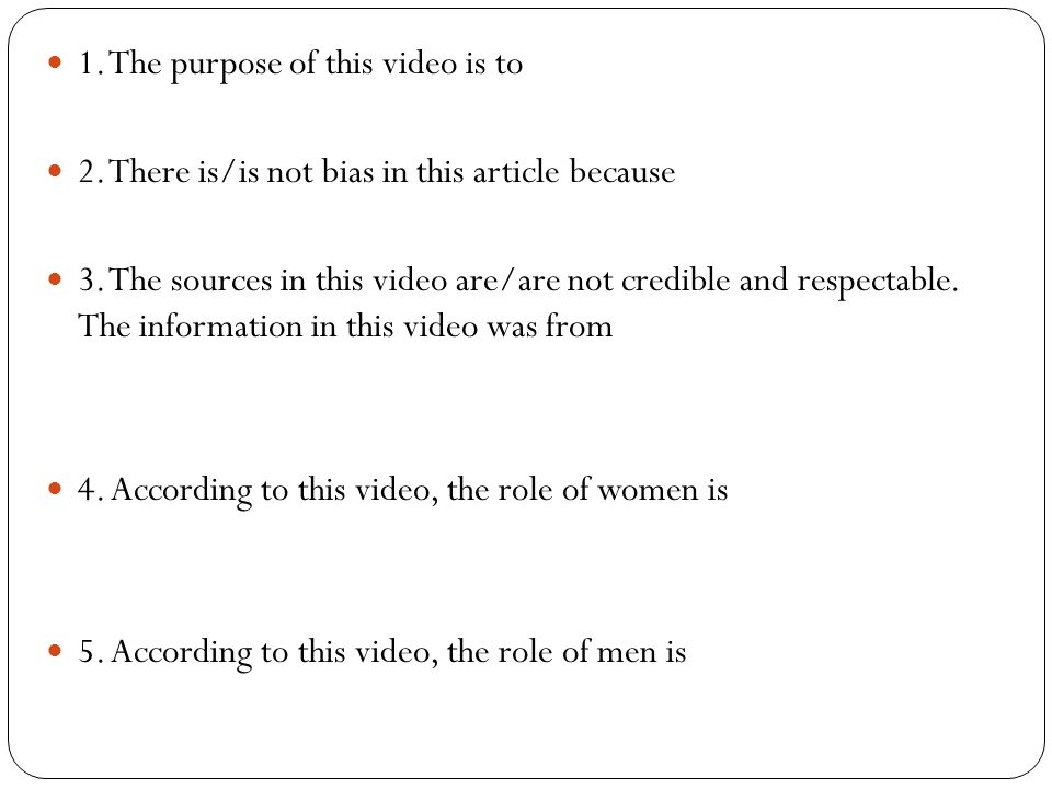 1. The purpose of this video is to