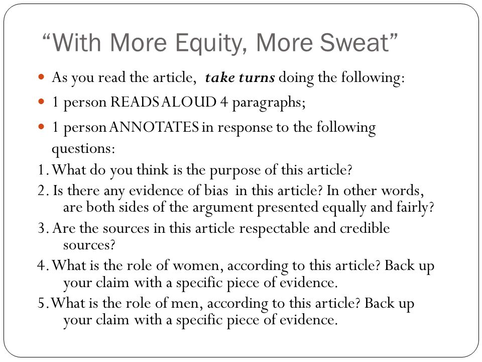 With More Equity, More Sweat