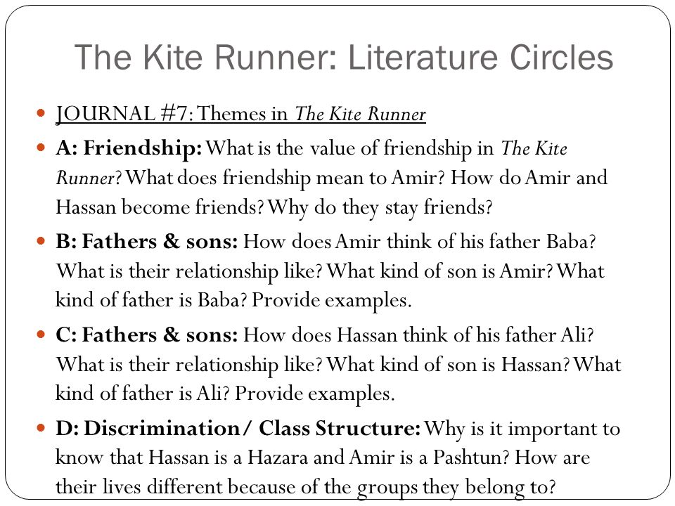 The Kite Runner: Literature Circles