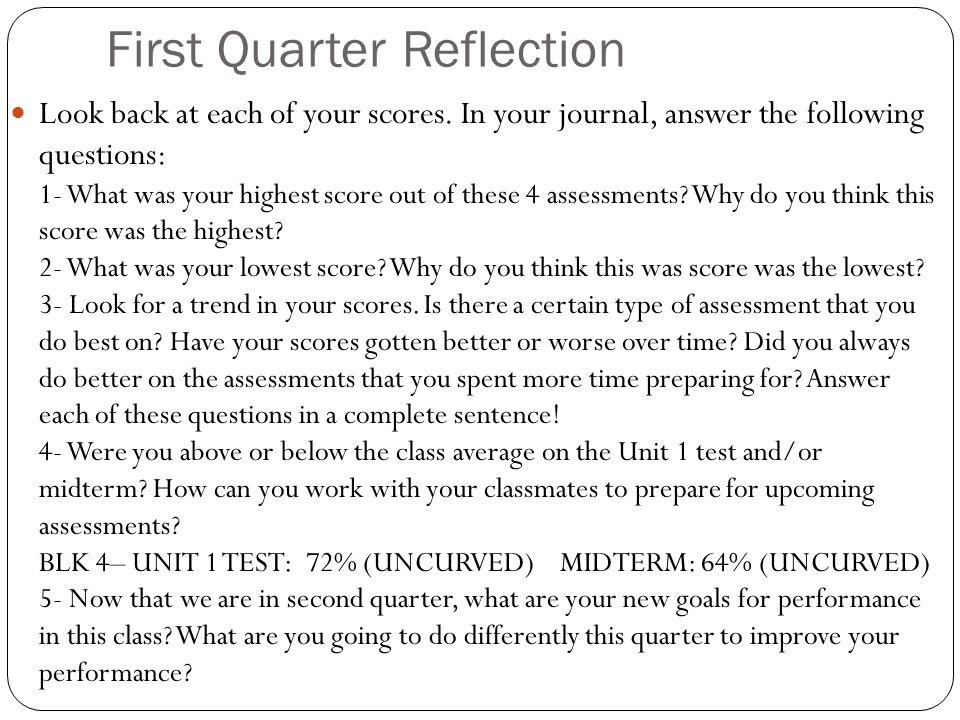 First Quarter Reflection