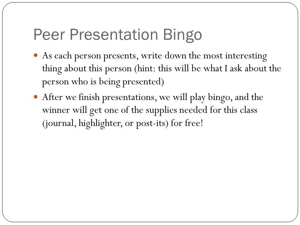 Peer Presentation Bingo