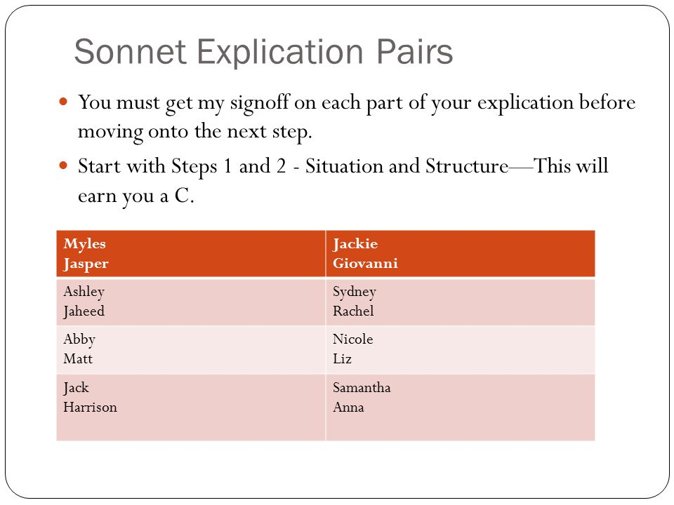 Sonnet Explication Pairs