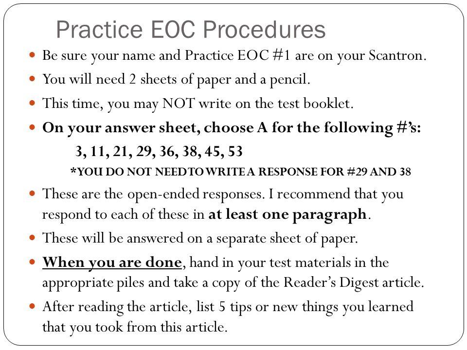 Practice EOC Procedures