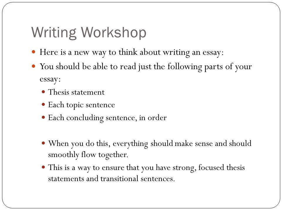 Writing Workshop Here is a new way to think about writing an essay: