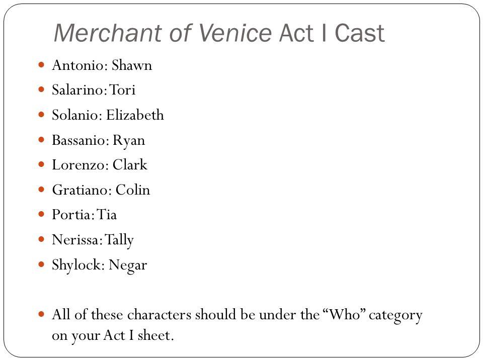 Merchant of Venice Act I Cast