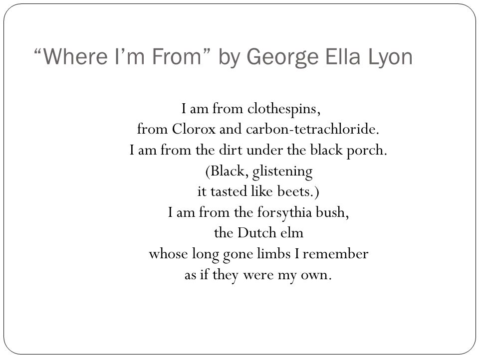 Where I'm From by George Ella Lyon