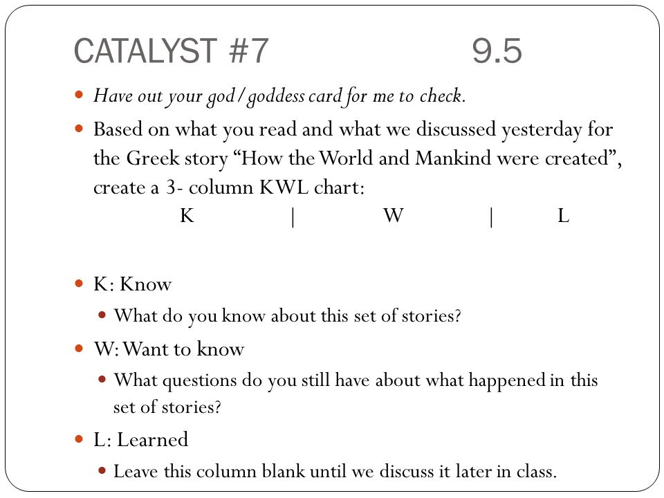 CATALYST #7 9.5 Have out your god/goddess card for me to check.
