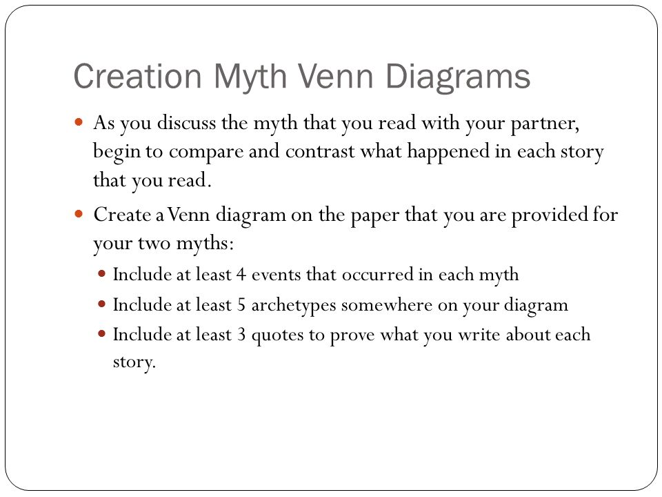 Creation Myth Venn Diagrams