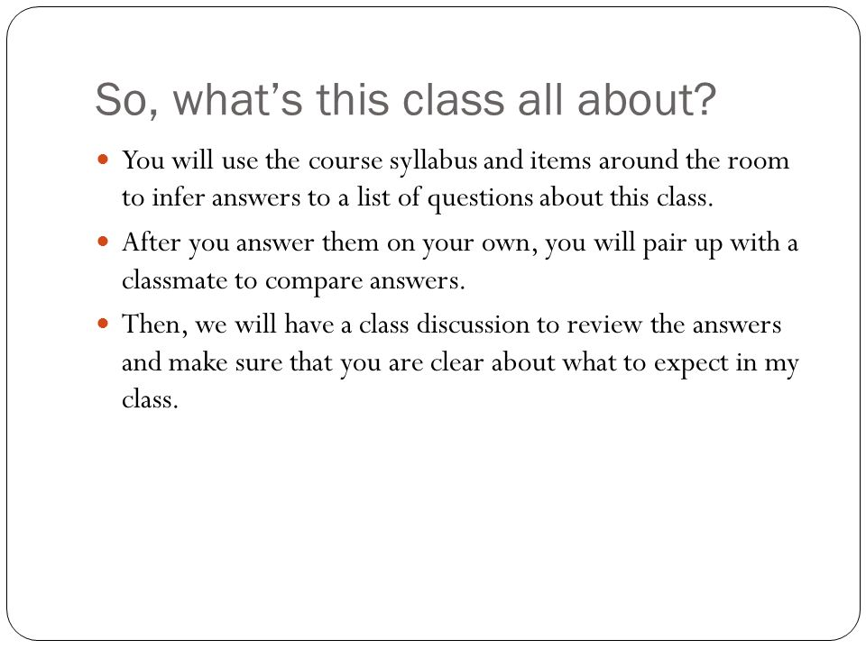 So, what's this class all about