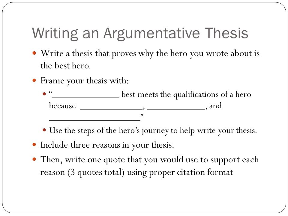 Writing an Argumentative Thesis