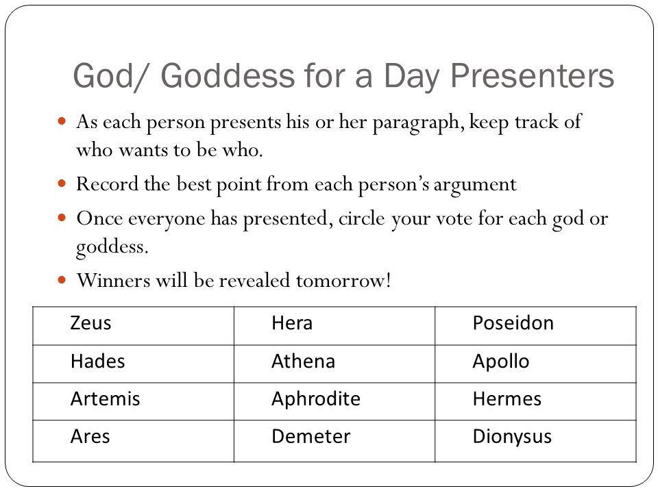 God/ Goddess for a Day Presenters