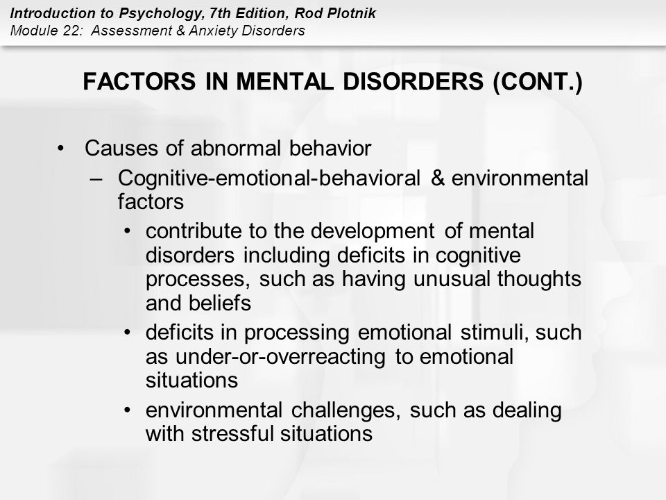 factors for mental disorders Alphabetical list of mental disorders: this list comes from a wide variety of sources including the dsm-iv, dsm 5, icd-10, and online resources.