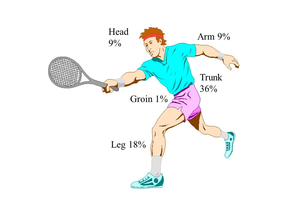 Head 9% Arm 9% Trunk 36% Groin 1% Leg 18%