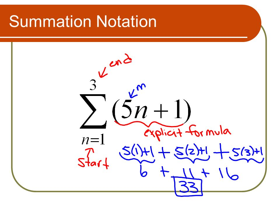 write arithmetic series in summation notation