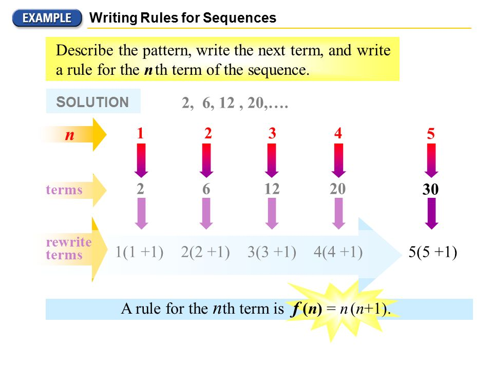 """understanding the pattern of sequence in terms of the nth term Lo – understand basic number patterns and state 'nth term rules' name_______________________________________ wwwm4thscom (1) write the next two numbers in the sequence and write a 'term to term' rule such as """"add (5) starting with the number 1, write out the first 4 terms of each sequence below."""
