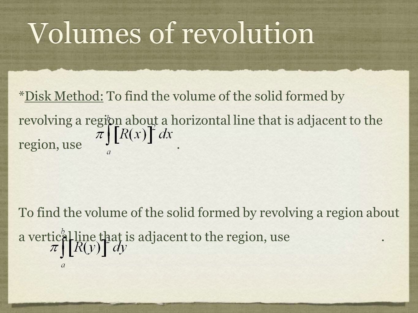 Volumes Of Revolution 41 *washer Method: To Find