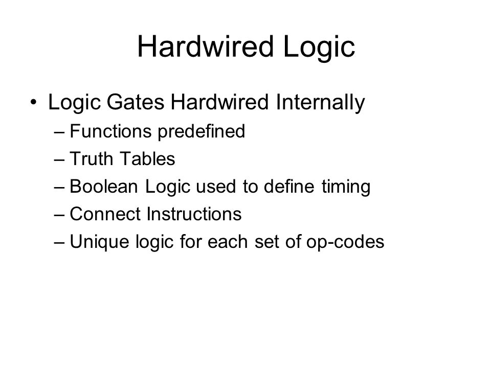 Hardwired Logic Logic Gates Hardwired Internally Functions predefined