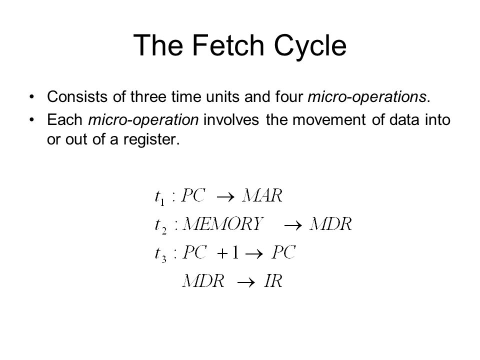 The Fetch Cycle Consists of three time units and four micro-operations.