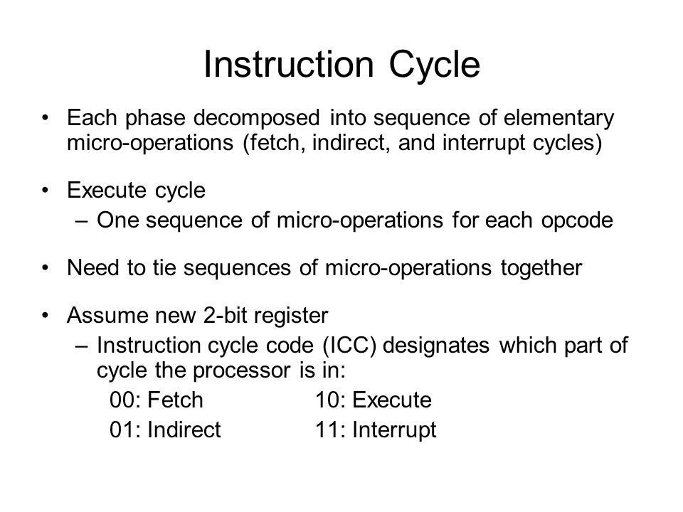Instruction Cycle Each phase decomposed into sequence of elementary micro-operations (fetch, indirect, and interrupt cycles)