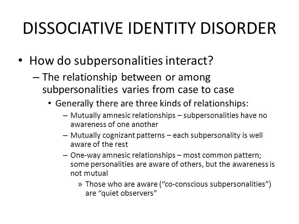 an introduction to the analysis of dissociate identity disorder Identity disorder people with bpd may tend to dissociate which calls for the analysis of more neuroimaging studies.