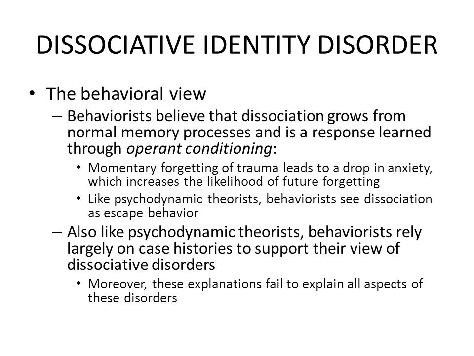 Dissociative identity disorder term papers