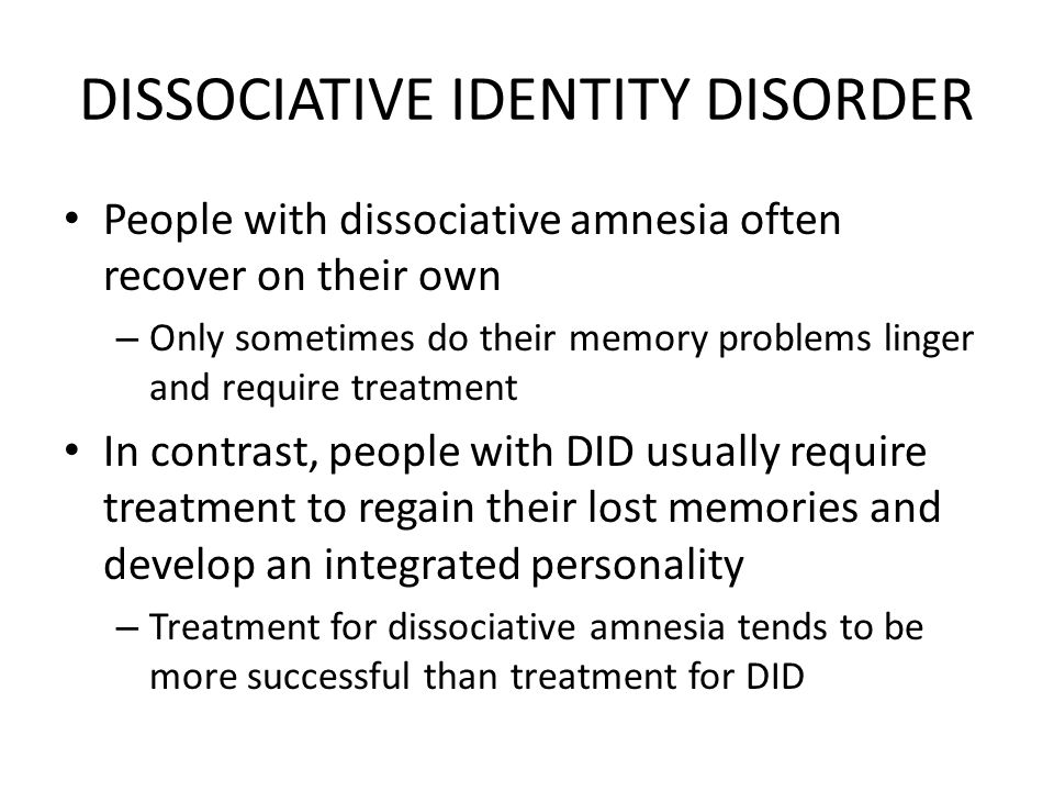 nursing care for dissociative indentity disorder