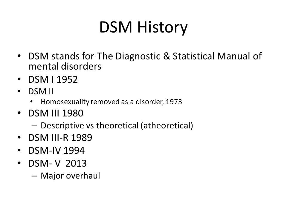 dsm iv psychological disorders This list of psychological disorders describes different categories of mental disorders and offers examples of each type menu a list of psychological disorders share flip email search the site go  highlights of changes from dsm-iv-tr to dsm-5 2013 american psychiatry association.