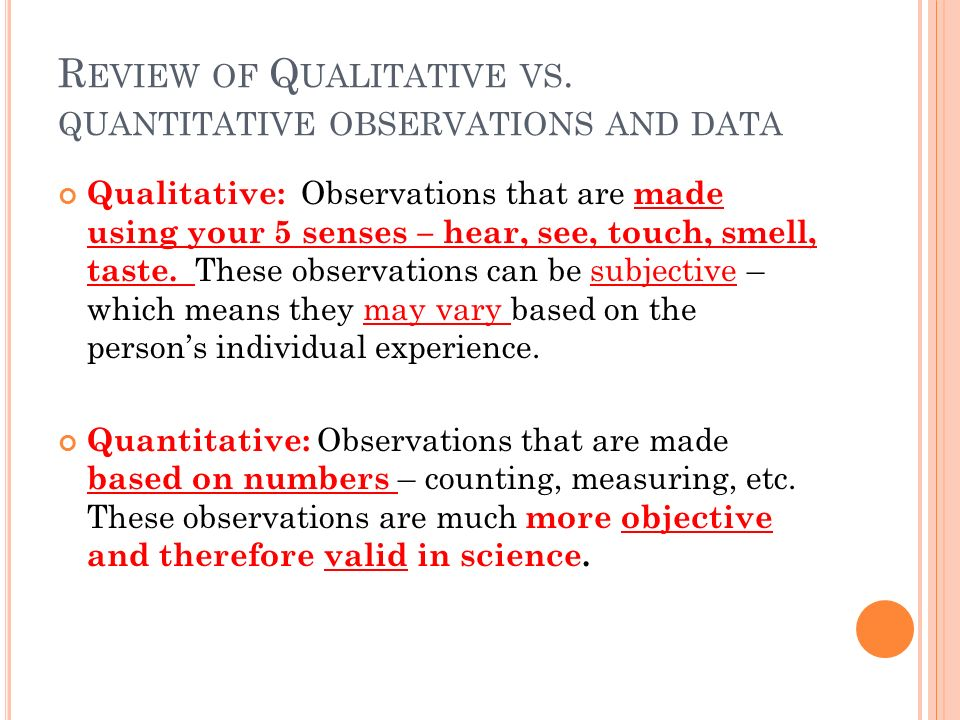 what is a quantitative relationship in science