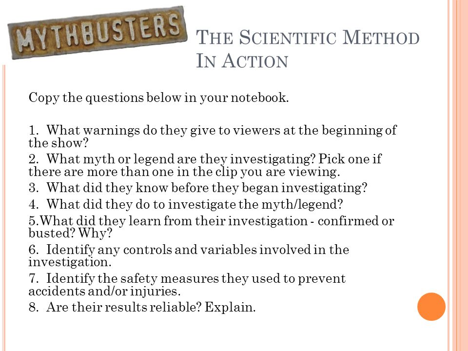 Course Semester Pretest ppt download – Mythbusters Scientific Method Worksheet