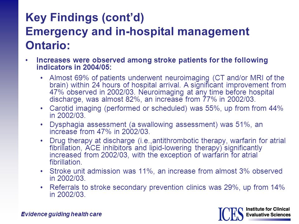 Key Findings (cont'd) Emergency and in-hospital management Ontario: