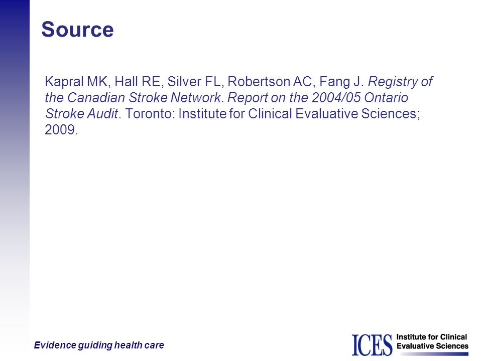 Source Kapral MK, Hall RE, Silver FL, Robertson AC, Fang J. Registry of. the Canadian Stroke Network. Report on the 2004/05 Ontario.