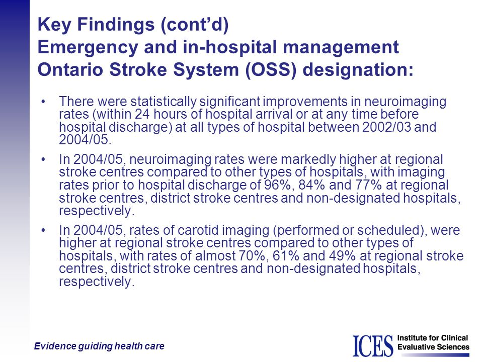 Key Findings (cont'd) Emergency and in-hospital management Ontario Stroke System (OSS) designation:
