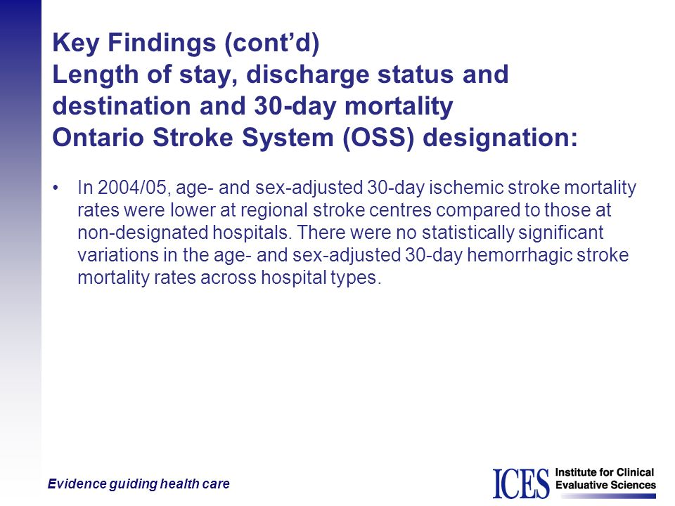 Key Findings (cont'd) Length of stay, discharge status and destination and 30-day mortality Ontario Stroke System (OSS) designation: