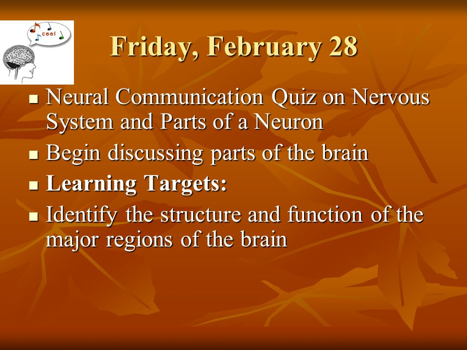 Friday february 28 neural communication quiz on nervous system and parts of a neuron begin discussing parts of the brain learning targets identify the friday february 28 neural communication quiz on nervous system and parts of a neuron ccuart Images