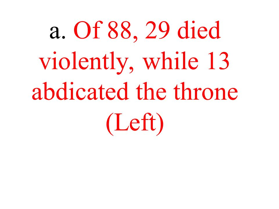 a. Of 88, 29 died violently, while 13 abdicated the throne (Left)
